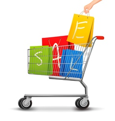 Shopping cart full of shopping bags with a sale vector