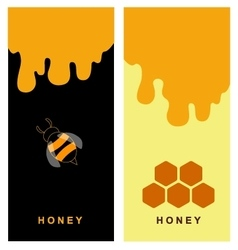 Two labels for honey products with bee and comb vector