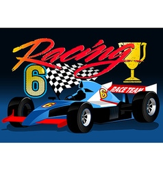 Open wheel blue racing car with trophy and flag vector
