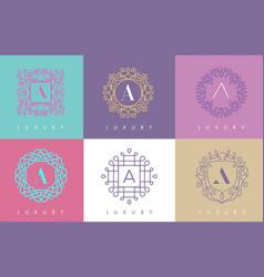A letter pastel floral monogram lines logo design vector