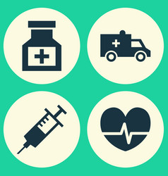 antibiotic icons set collection of injection bus vector image vector image