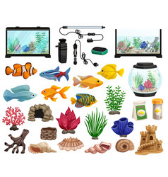 aquaristics and aquarium fishes set vector image