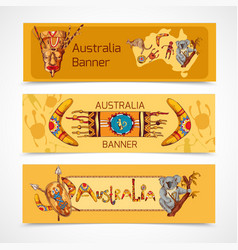 Australia sketch banners horizontal vector