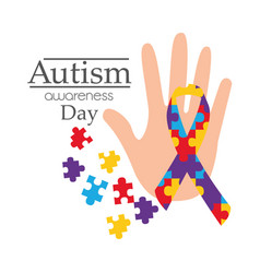 Autism awareness day card with hand puzzle shape vector