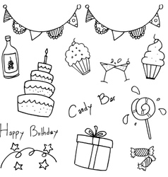 Birthday party doodle for kids vector