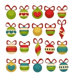 Christmas balls decoration Cartoon style vector image
