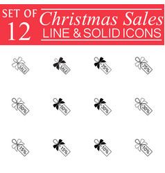 Christmas sales with ribbons line icons vector