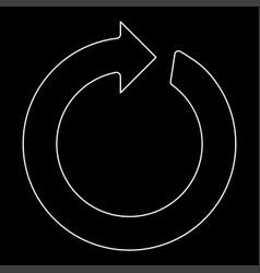 Circle arrow the white path icon vector