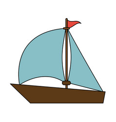 Color image wooden boat with sail vector