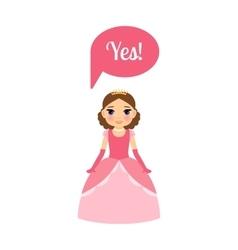 Cute cartoon princess with speech bubble vector image vector image