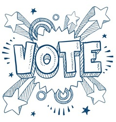 doodle pop vote vector image vector image