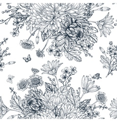 Elegant seamless pattern with bouquets of flowers vector image