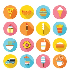 Fast food flat icons set vector
