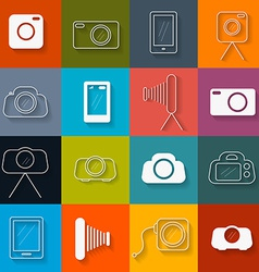 Flat Design Photography Icons Set vector image