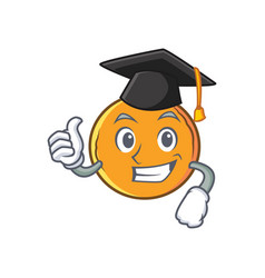 Graduation orange fruit cartoon character vector