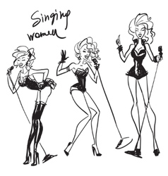 Hand drawn singing women sketch vector image vector image