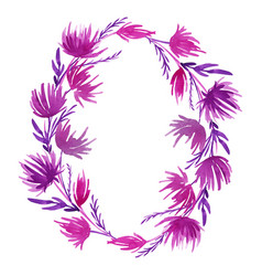 Hand drawn watercolor flower wreath in vector