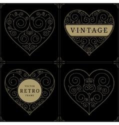 Heart vintage luxury logo template set vector image
