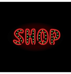 Light neon shop label vector