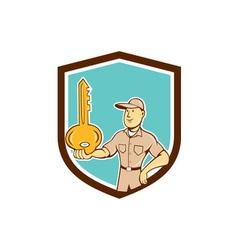 Locksmith balancing key palm shield cartoon vector