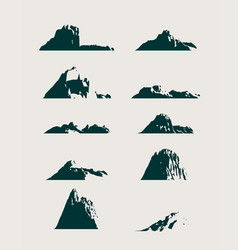Mountain icons set mountains landscape vector