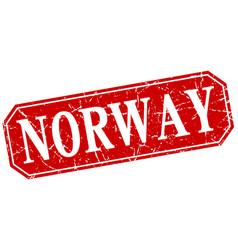 Norway red square grunge retro style sign vector