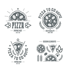 Pizzeria labels badges and design elements vector image vector image