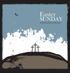 Poster for easter with calvary and three crosses vector