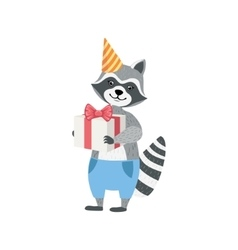 Raccoon cute animal character attending birthday vector