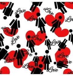 Seamless pattern of hearts and people vector image