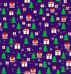Seamless Pattern with Christmas Night Pines Gift vector image vector image