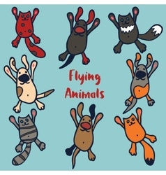 Set of 8 funny flying animals vector