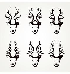 Set of beautiful abstract deer vector