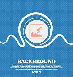 Skier sign Blue and white abstract background vector image