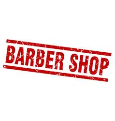 Square grunge red barber shop stamp vector