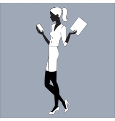 The secretary is looking at e-mail smartphone vector