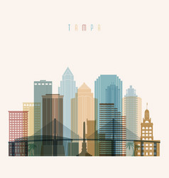 transparent style tampa state florida skyline vector image vector image