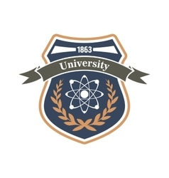 University of physics and science heraldic symbol vector image vector image