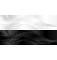 White and black smooth waves banners vector