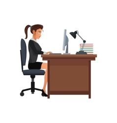 Woman business workplace desk computer lamp vector