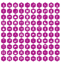 100 tackle icons hexagon violet vector