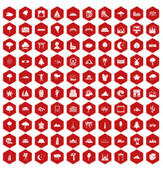 100 view icons hexagon red vector