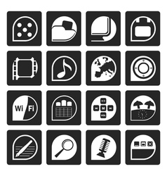 Black phone performance internet and office icons vector