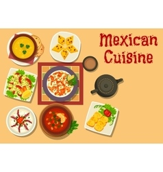 Mexican cuisine authentic dinner dishes icon vector