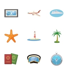 Trip to sea icons set cartoon style vector