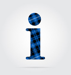 Blue black tartan icon - information symbol vector