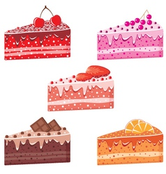 Five pieces of cake vector