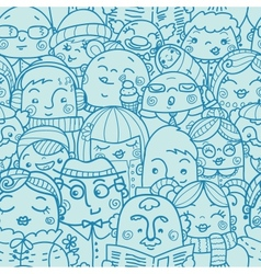 People in a crowd seamless pattern background vector