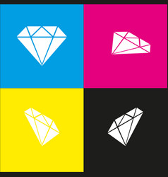 Diamond sign   white icon with vector