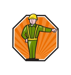 Emergency worker pointing side cartoon vector